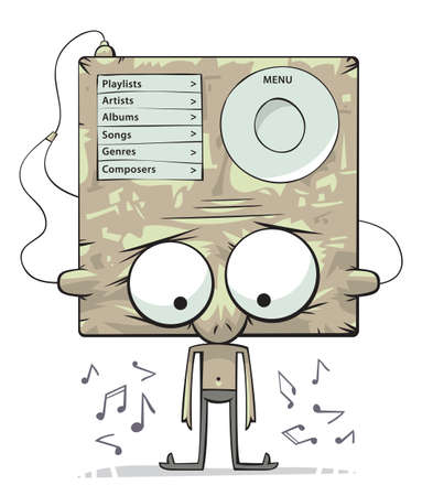 audio player: Cute funny character with big head as an audio player is listening to music