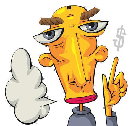 inquiring: Serious man pointing at dollar sign