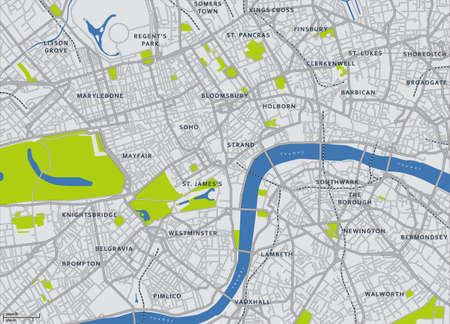 central park: Central London Vector Map Illustration