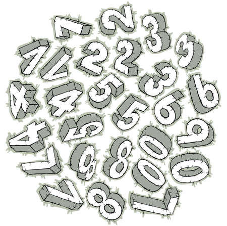 0 6: Hand drawn sketchy 3D numbers Illustration
