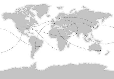 World vector map. Main cities are marked and connected with lines Illustration