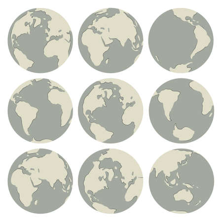 Set of vector globes: earth with all continents Stock Vector - 12941566