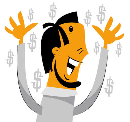 Businessman is laughing excited with hands up Stock Vector - 12941529