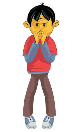 smelling: Standing boy hides his nose from bad smell Illustration