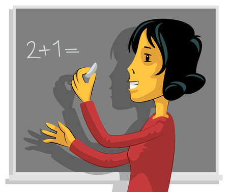 tasks: Young teacher writing on chalkboard and talking