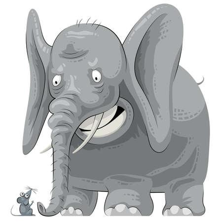 encounter: Grande elefante grasso incontra un topolino. Elephant � spaventato Vettoriali