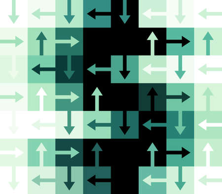 Green and black Dollar Sign constructed out of Arrows and square rectangular shapes