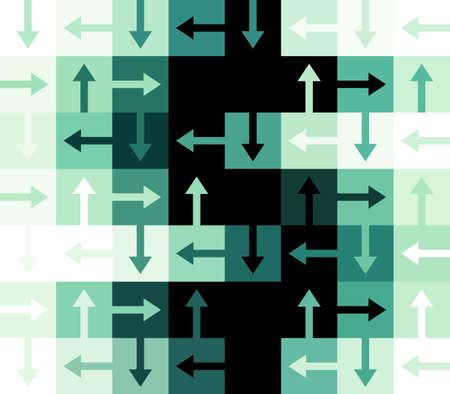 Groen en zwart Dollar Sign opgebouwd uit Arrows en vierkante rechthoekige vormen