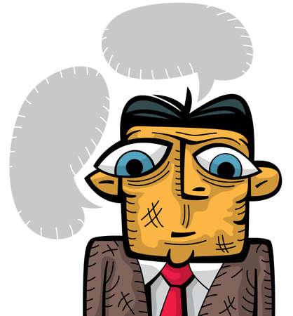 inquiring: Sad businessman thinking. Mind clouds around his head