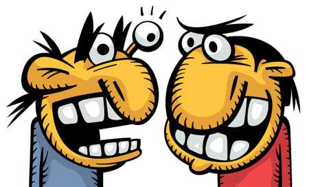 grumpy: Twee knorrige grappig geïrriteerde oude mannen ruzie met geweld Stock Illustratie