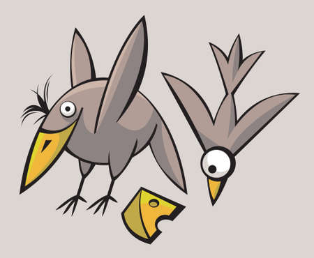 Funny cute stylized birds playing and flying Illustration