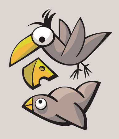 playthings: Funny cute stylized birds playing and flying Illustration