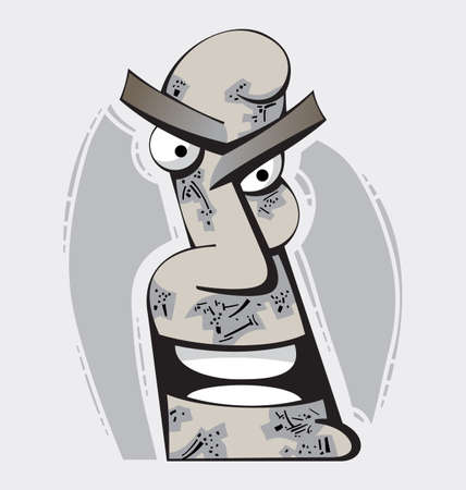 Head illustration of an irritated angry man Vektorové ilustrace