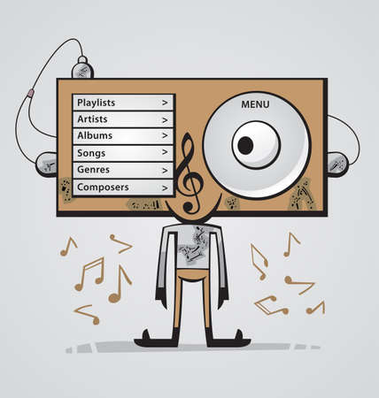Cute funny character with big head as an audio player is listening to music Vector