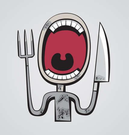 Hombre hambriento Grotesque con gran cuello y tenedor y un cuchillo en lugar de las manos