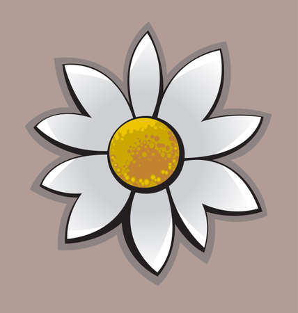 simplified: Simplified illustration of the Chamomile Flower on brown background