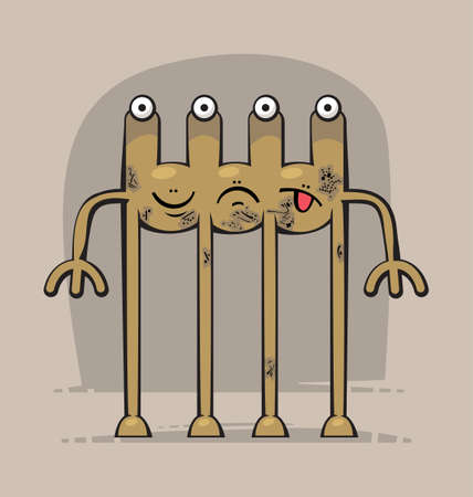 three headed: Cute funny Monster with three heads, four eyes, different face expressions and four long legs Illustration
