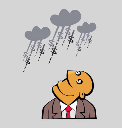 daydreaming: Daydreaming Businessman is looking up to clouds raining with money