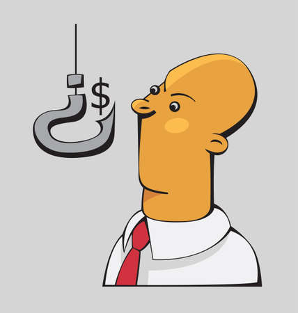 shop assistant: Confused businessman is looking at the dollar sign on a hook shaped as a question mark