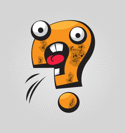interrogative: Childish confused question mark with big eyes and funny face expressions