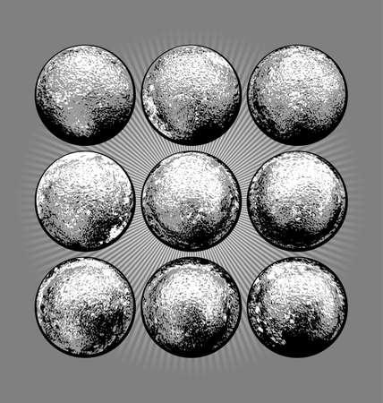 Nine realistic threedimentional balls as design elements Illustration