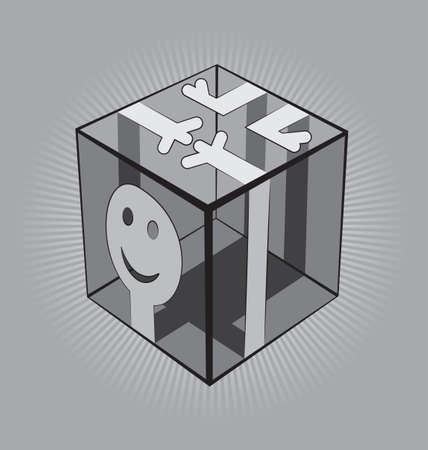 Simplified man figgure wrapped around a transparent Cube