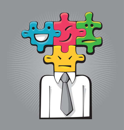 Illustration of a businessman with four different faces as puzzle game