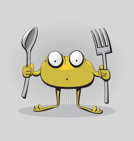 Funny cute hungry surprised monster creature ready to eat with fork and spoon Illustration