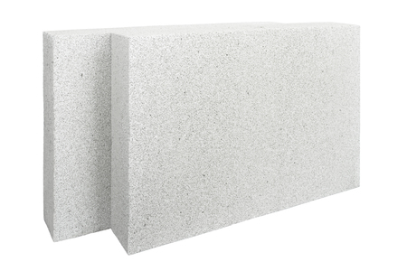 foamed: Lightweight foamed gypsum block isolated on white. Stock Photo