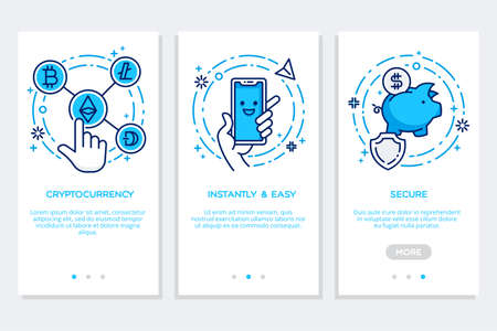 Outline blue illustration of onboarding app screens in flat style, Cryptocurrency - easy and secure.web site, modern interface UX UI GUI.