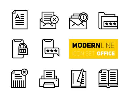 Modern line icons set of office stuff and secure data information. Vector collection, stroke pictogram of basic business essential tools and equipment. Concept thin outline symbols.