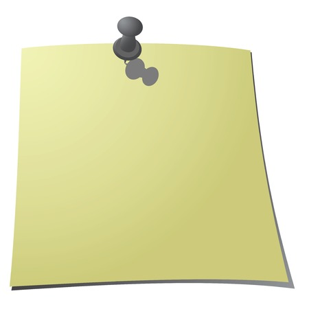 paper note: Push Pin and a Paper Note on a white background