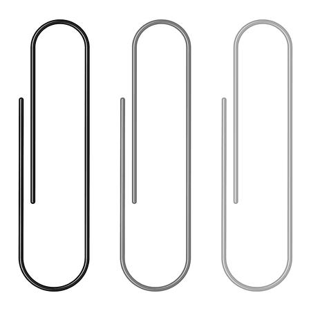 Set of paper clips on a white background  Vector illustration