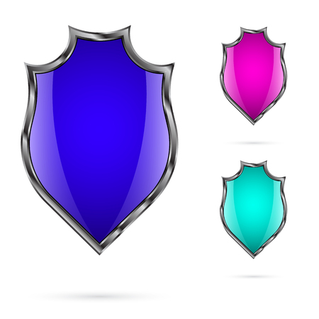 buckler: Set of bright colored shields for your design which is placed on a white background