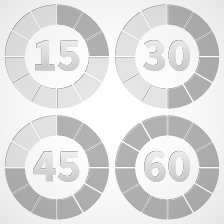 intervals: Set timers black and white, 15 minute intervals