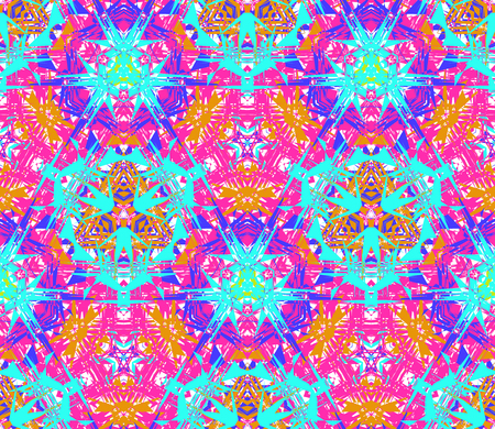Seamless pattern composed of bright color abstract elements located on white background Vector