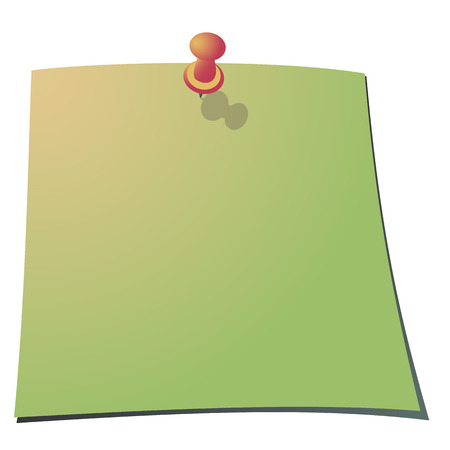 paper note: Push pin and a paper note. Vector Illustration.