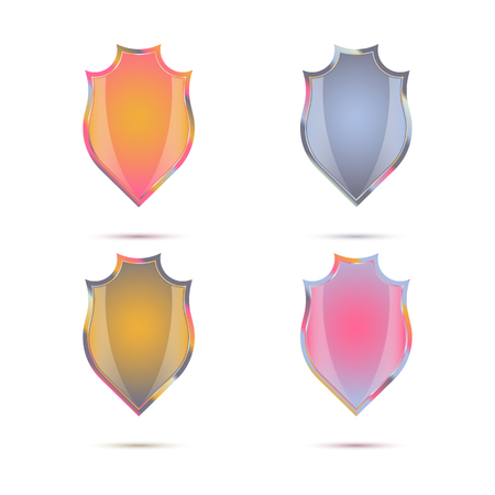 buckler: A set of decorative colored shields in vintage style for your design