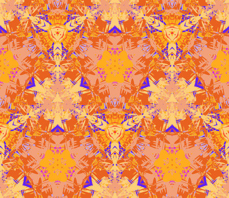 Seamless pattern composed of color abstract elements located on yellow background. Useful as design element for texture, pattern and artistic compositions. Vector illustration.