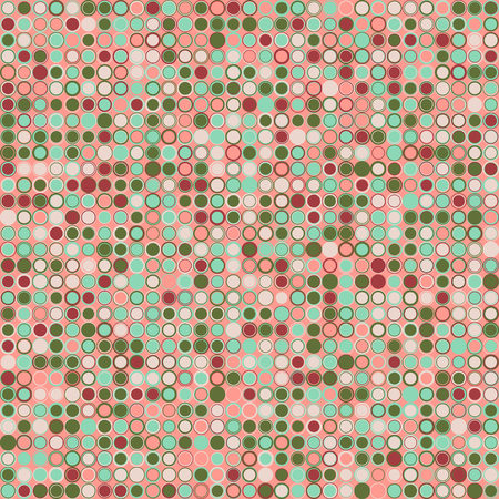 interconnected: abstract background. Consists of geometric elements arranged on background in pink. The elements have a circular shape and different color. Colorful mosaic background. Useful as design element for texture and artistic compositions.