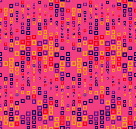 Seamless pattern on magenta background. Has the shape of a wave. Consists of through geometric elements. In color. Useful as design element for texture, pattern and artistic compositions.
