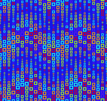 Seamless pattern on blue background. Has the shape of a wave. Consists of through geometric elements. In color. Useful as design element for texture, pattern and artistic compositions. Illustration