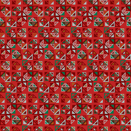 triangular shape: Vector seamless pattern. Consists of geometric elements on red background. The elements have a triangular shape and different color. Useful as design element for texture, pattern and artistic compositions. Illustration
