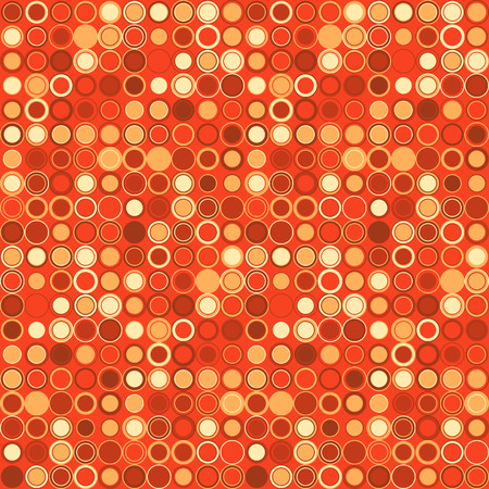 interconnected: Vector seamless pattern. Consists of geometric elements arranged on red background.The elements have round shape and different color. Useful as design element for texture, pattern and artistic compositions. Illustration