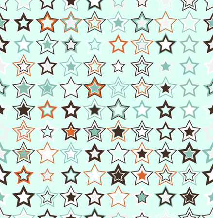 interconnected: Vector seamless pattern. Geometric seamless pattern. The stars of different sizes and different colors. The pattern elements are arranged on light aquamarine background. Useful as design element for texture, pattern and artistic compositions. Illustration