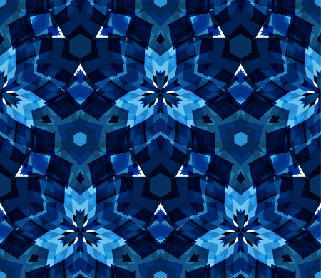 interconnection: Blue kaleidoscope seamless pattern. Seamless pattern composed of color abstract elements located on white background. Useful as design element for texture, pattern and artistic compositions. Vector illustration.
