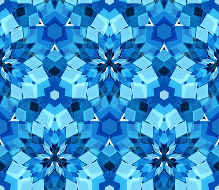 Blue kaleidoscope seamless pattern. Seamless pattern composed of color abstract elements located on white background. Useful as design element for texture, pattern and artistic compositions. Vector illustration.