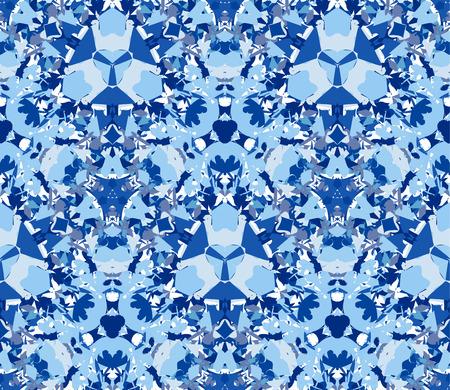 Caleidoscopio azul patrón transparente. Patrón transparente compuesto por elementos abstractos de color situado sobre un fondo blanco. Útil como elemento de diseño para texturas, patrones y composiciones artísticas.