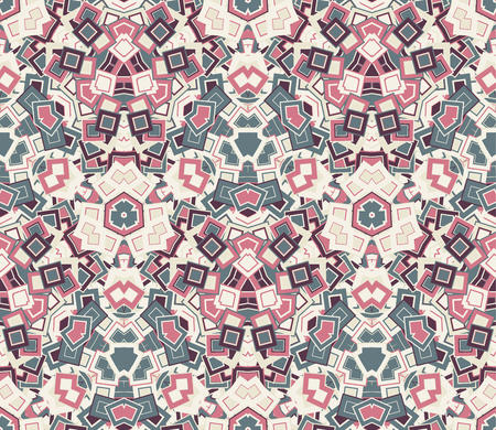 Abstract seamless pattern, background. Composed of colored geometric shapes. Useful as design element for texture and artistic compositions. Illustration