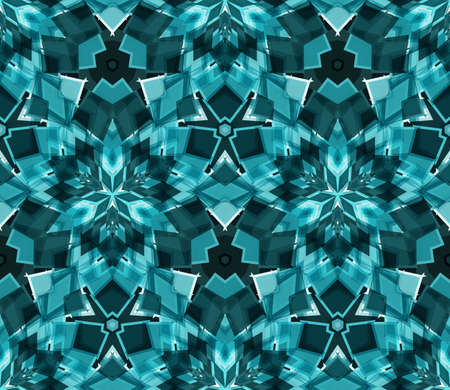 interconnected: Kaleidoscope seamless pattern, background, consisting of abstract shapes in teal